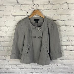 Larry Levin Gray 3/4 Sleeve Button Up Jacket sz S